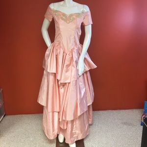 Dresses & Skirts - Light Peach Bling & Ruffle Long Dress